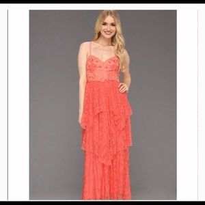 Free People Summer Breeze Party Coral Lace Dress